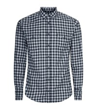 Boss Orange Check Flannel Shirt Male Black