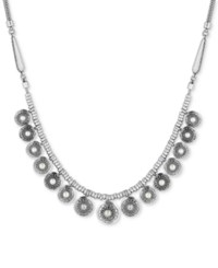 Lucky Brand Silver Tone Imitation Pearl Multi Disc Statement Necklace