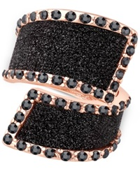 Guess Rose Gold Tone Black Stone Glitter Ring
