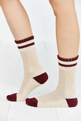 Urban Outfitters Striped Slouchy Crew Sock Berry