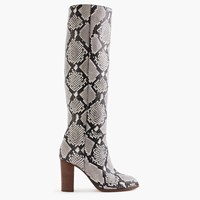 J.Crew High Heel Knee Boots In Snakeskin Printed Leather Ivory Black