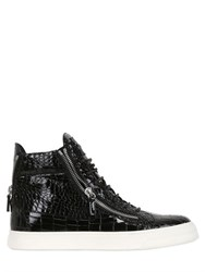 Giuseppe Zanotti Embossed Patent Leather High Top Sneaker