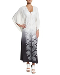 Marie France Van Damme Embroidered V Neck Caftan Coverup White Silver Dyed