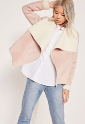 Missguided Faux Shearling Waterfall Jacket Pink