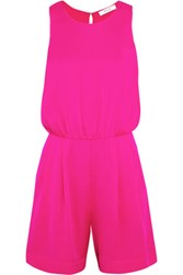 Milly Blouson Stretch Silk Playsuit Fuchsia