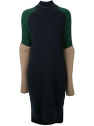 Muveil Colour Block Knit Dress Blue