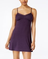 Alfani Lace Trimmed Printed Chemise Only At Macy's Plum Dot