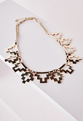 Missguided Aztec Style Cut Out Necklace Gold Gold