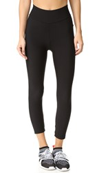 Plush Fleece Lined Cropped Athletic Leggings Black
