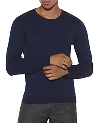 John Varvatos Star Usa Contrast Trim Crewneck Sweater Deep Blue