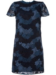 Burberry Lace Overlay Dress Blue