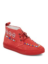 Del Toro Beaded Suede Chukka Boots Red