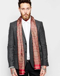 Noose And Monkey Italian Silk Dress Scarf In Paisley Red