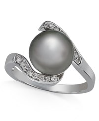 Macy's Cultured Tahitian Pearl 10Mm And Diamond 1 6 Ct. T.W. Ring In 14K White Gold Black