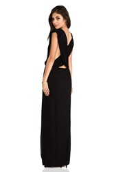 Indah Jade Rayon Crepe Plunging V Neck Draped Cross Back Maxi Lounge Dress Black