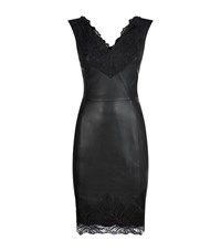 Reiss Etty Leather And Lace Dress Female Black