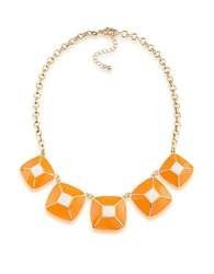 1St And Gorgeous Enamel Pyramid Pendant Statement Necklace In Light Orange White Gold