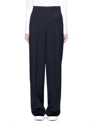 Ports 1961 Virgin Wool Suiting Wide Leg Pants Black