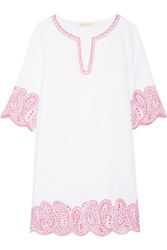 Michael Michael Kors Broderie Anglaise Linen Mini Dress White Pink