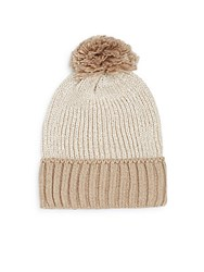 Saks Fifth Avenue Metallic Colorblock Pom Pom Beanie Buff