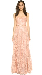 Marchesa Notte Lace Strapless Gown With Belt Pale Coral