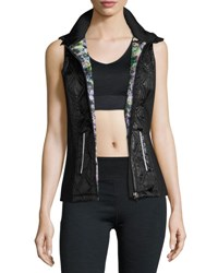 Nanette Lepore Quilted Panel Zip Front Vest Black