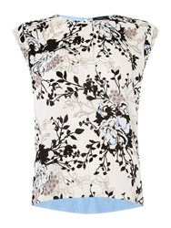 Therapy Botanical Floral Woven Front Top Blue