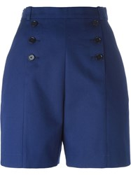 Carven Buttoned Front Shorts Blue