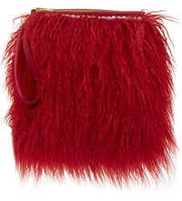 Shrimps Pearly Faux Fur Clutch Red