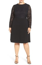 London Times Plus Size Women's Lace Bodice A Line Dress