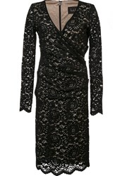 Nicole Miller Gathered Lace Dress Black
