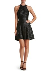 Women's Dress The Population 'Anni' Sequin Minidress Matte Black