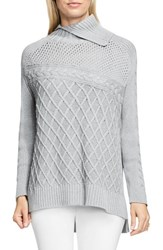 Vince Camuto Women's Multi Stitch Cable Sweater Light Heather Grey