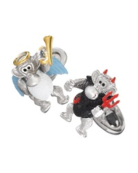 Jan Leslie Devil And Angel Monkey Cuff Links