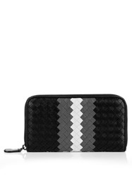 Bottega Veneta Intrecciato Leather Zip Around Wallet Black White