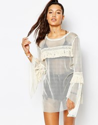 The Ragged Priest Mesh Peplum Sleeve Dress With Tassel Detail Cream