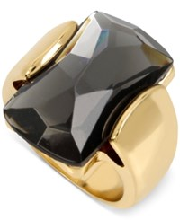 Robert Lee Morris Soho Gold Tone Large Faceted Black Stone Statement Ring