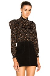 Saint Laurent Printed Ruffle Blouse In Black Brown Abstract Black Brown Abstract