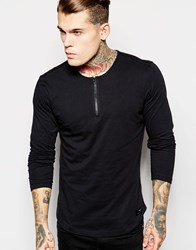 Religion Long Sleeve Top With Zip Neck And Leather Detail Black