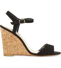 Dune Montecarlo Suede Cork Effect Wedge Sandals Black Suede