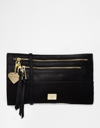 Marc B Triple Compartment Zipper Clutch Black
