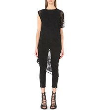 Ann Demeulemeester Palm Embroidered Cotton And Silk Blend Tunic Black Black