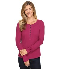Life Is Good Vibes Long Sleeve Waffle Henley Wild Plum Women's Long Sleeve Pullover Burgundy