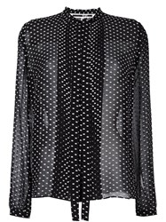 Mcq By Alexander Mcqueen Frayed Polka Dot Blouse Black