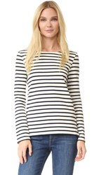 Petit Bateau Hannah Long Sleeve Stripe Tee Coquille Smoking