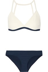 Flagpole Swim Casey Color Block Triangle Bikini Off White Navy
