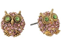 Betsey Johnson Pink Green Gold Owl Stud Earrings Pink Earring