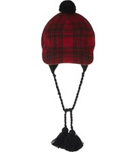 Gucci Tartan Cotton Wool Blend Hat Lacquer Black