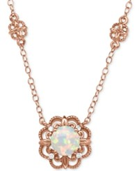 Macy's Opal 1 2 Ct. T.W. With Diamond Accent Filigree Floral Pendant Necklace In 14K Rose Gold White