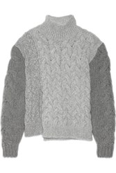 Stella Mccartney Melange Cable Knit Wool Blend Turtleneck Sweater Gray